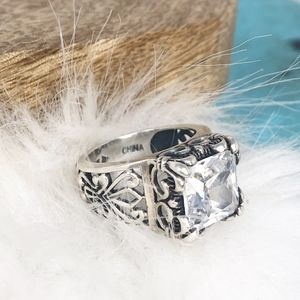 Silpada Sterling Square CZ Uptown Filigree Ring 7